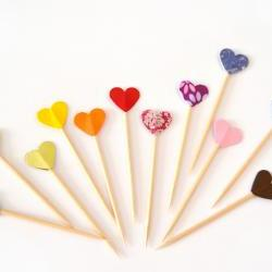 15 Party Picks Cupcake Toppers - Rainbow Colorful Hearts
