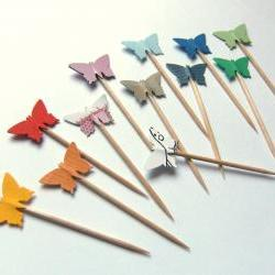15 Party Picks Cupcake Toppers - Rainbow Colorful Funny Butterflies