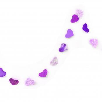 Violet purple garland in paper hearts